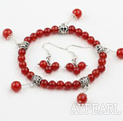 Wholesale Classic Design Carnelian Elatic Bracelet and Matched Earrings