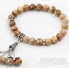 Classic Design Picture Jasper Elatic Bracelet and Matched Earrings