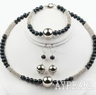New Design Black Freshwater Pearl and Metal Set ( Necklace Bracele and Matched Earrings )