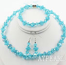 Lake Blue Crystal Set ( Necklace Bracelet and Matched Earrings )