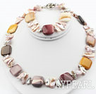 Biwa Pearl and Silver Leaf Agate Set ( Necklace and Matched Bracelet )