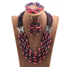 Wholesale Glamorous 5 Layers Purple Red Crystal Beads African Wedding Jewelry Set With Butterfly Accessory (Necklace With Mathced Bracelet And Earrings)