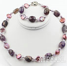 Coin Pearl and Amethyst Set ( Necklace and Matched Earrings )