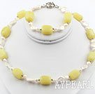 Coin Pearl and Lemon Jade Set ( Necklace and Matched Earrings )