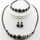 Wholesale Round Black Agate Set ( Necklace Bracelet and Matched Earrings )