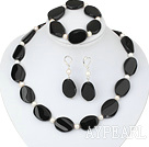 Wholesale white pearl and line patterned black agate set