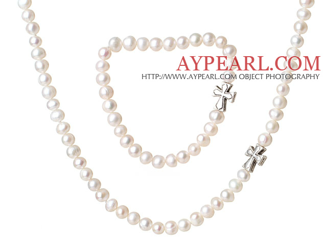 Fancy Elegant Style 6-7mm Single Strand White Freshwater Pearl Jewelry Set with Cross Charm (Necklace with Matched Bracelet)