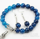 Wholesale Classic Design Blue Agate Set ( Beaded Bracelet and Matched Earrings )