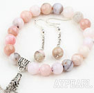 Wholesale Classic Design Pink Opal Set ( Beaded Bracelet and Matched Earrings )