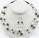 Faceted Clear Crystal and Hematite Stone Set ( Necklace and Matched Earrings )