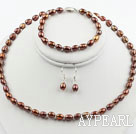 Wholesale 5-6mm Brown Freshwater Pearl Set ( Beaded Necklace, Bracelet and Matchd Earrings )