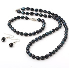 6-7mm Black Rise Shape Freshwater Pearl Set ( Beaded Necklace Bracelet and Matched Earrings )