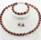 Wholesale 9-10mm Brown Rise Shape Freshwater Pearl Set ( Beaded Necklace Bracelet and Matched Earrings )