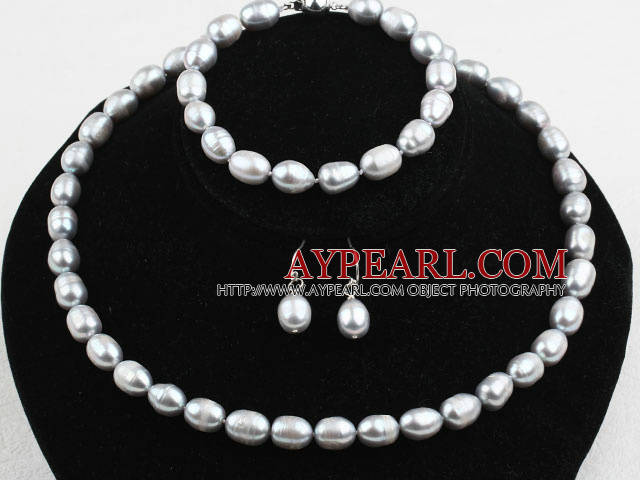 9-10mm Gray Freshwater Pearl Set ( Beaded Necklace Bracelet and Matched Earrings )
