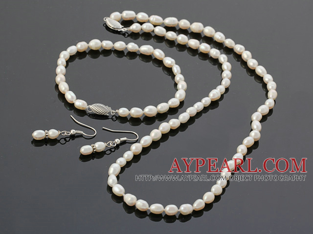 3-4mm White Rice Freshwater Pearl Set ( Beaded Necklace Bracelet and Matched Earrings )