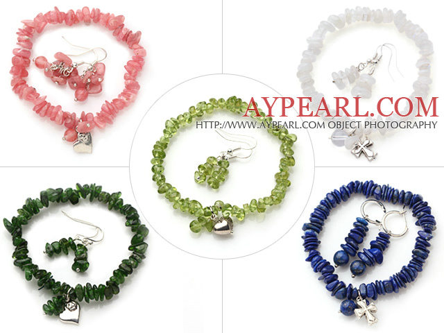 New 5 Sets Summer Design Multi Color Semi-precious Stone Jewelry Sets (Bracelet with Matched Earrings)