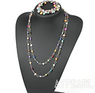 Wholesale seven colored pearl shell necklace with matched bracelet