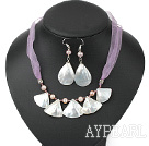 natural purple pearl and crystal white lip shell necklace earring set