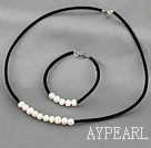 Wholesale natural white pearl necklace bracelet set with lobster clasp
