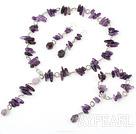 Wholesale 6-14mm natual amethyst necklace bracelet earring set