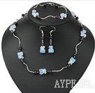 hot garnet  black pearl and opal necklace bracelet earring set