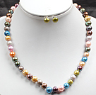 8-9mm Multi Color Pearl Necklace and Matched Studs Earrings Sets