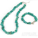 Beautiful Green Gemstone Chips Jewelry Sets (Necklace With Matched Bracelet)