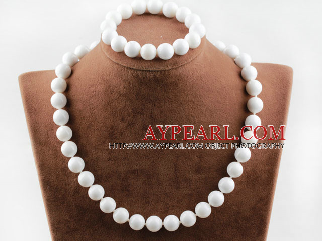 12mm white sea shell set(necklace, bracelet and earrings)