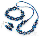 Wholesale blue manmade crystal necklace bracelet earring set