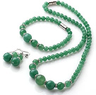 Elegant Simple Design Round Aventurine Beads Jewelry Set (Necklace Bracelet with Matched Earrings)