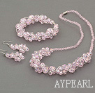 pink crystal set(necklace, bracelet and earrings) with magnetic clasp