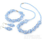Wholesale fashion blue crystal set(necklace, bracelet, earrings) with magnetic clasp