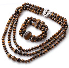 Wholesale Newly Cool Style Three Strands Round Tiger Eye Beaded Jewelry Set (Necklace with Matched Bracelet)