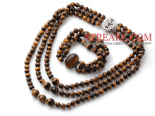 Newly Cool Style Three Strands Round Tiger Eye Beaded Jewelry Set (Necklace with Matched Bracelet)