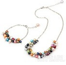 Wholesale seven colored pearl necklace with matched bracelet