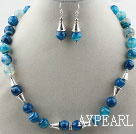Wholesale Faceted Brazil Blue Stripe Agate Set ( Necklace and Matched Earrings )