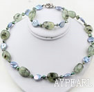 Blå Coin Pearl and Green Rutilated Quartz Set (Halsband och matchas Armband)