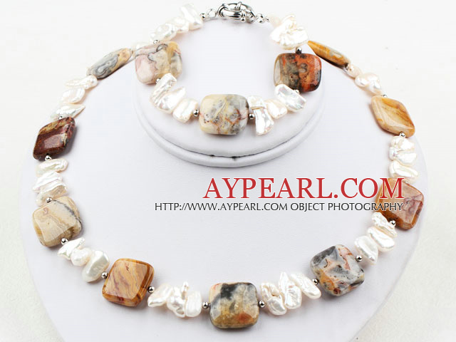 White Big Biwa Pearl and Agate Set ( Necklace and Matched Bracelet )