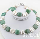 White Big Biwa Pearl and Square Aventurine Set ( Necklace and Matched Bracelet )