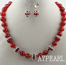 Wholesale Classic Design Faceted Red Carnelian Set ( Necklace and Matched Earrings )