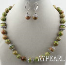 Classic Design Green Imperial Jasper Set ( Necklace and Matched Earrings )