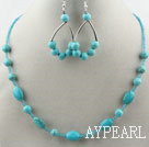 Wholesale Turquoise and Glass Beads Set ( Necklace and Matched Earrings )