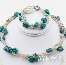 Mutter Form Turquoise och glaspärlor Set (Halsband och matchas Armband)