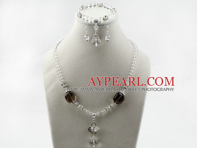 Assorted Clear Crystal and Smoky Quartz Set ( Necklace Bracelet and Matched Earrings )