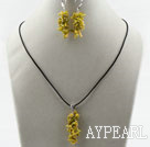 Wholesale Simple Style Branch Shape Yellow Devil Coral Set ( Pendant Necklace and Matched Earrings )