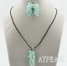 Wholesale Simple Style Branch Shape Light Green Devil Coral Set ( Pendant Necklace and Matched Earrings )