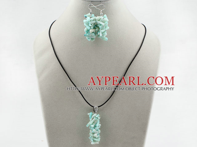 Simple Style Branch Shape Light Green Devil Coral Set ( Pendant Necklace and Matched Earrings )