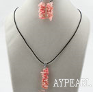 Wholesale Simple Style Branch Shape Pink Devil Coral Set ( Pendant Necklace and Matched Earrings )