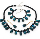Assorted Black Agate and Drop Shape Phoenix Stone Set ( Necklace Bracelet and Matched Earrings )