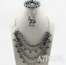 Wholesale Black Shell Beads and Crystal Set ( Necklace Bracelet and Matched Earrings )